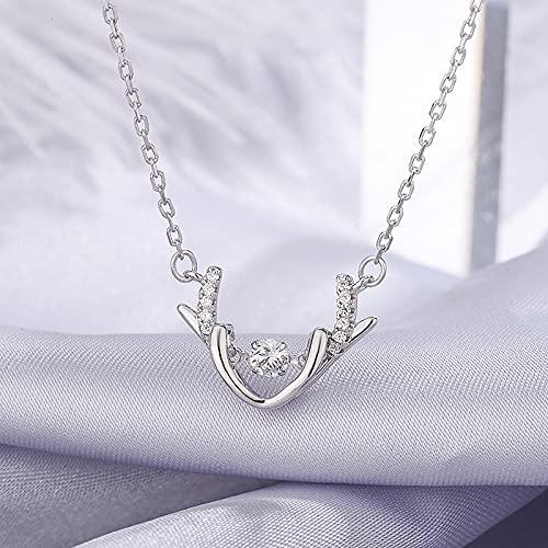 YNING S999 Collar Inteligente de Astas de Plata Esterlina/un Ciervo Tiene su Corazón Palpitante/Longitud de Cadena Ajustable/Regalos Adecuados para Niñas, Novias, Damas y Esposas