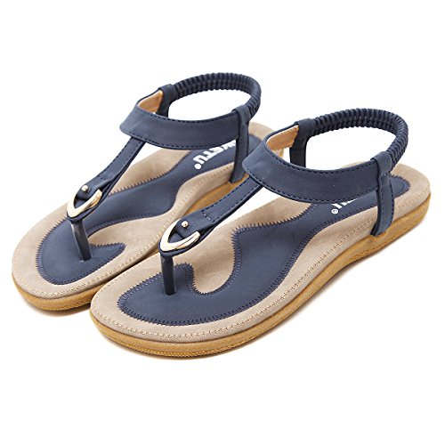 gracosy Damen Zehentrenner, Flache Sommer Strand Sandalen Mädchen Clip Toe Hausschuhe Mode Böhmischer Flip Flops Bequemer T-Strap Schuhe-Blau MEHRWEG
