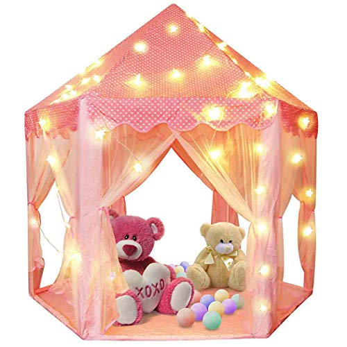 Lavievert Princess Tent Girls Large Playhouse Kids Castle Play Tent with Star Lights Toy for Children Indoor and Outdoor Games