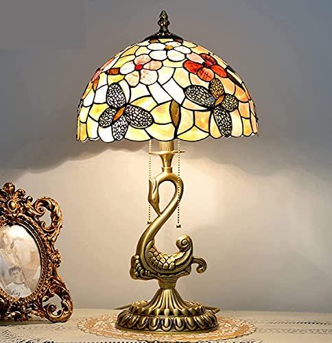 BQFLZY Vintage Banquero Lámparas Tiffany Estilo Lámpara De Mesa Mariposa Pastoral Antiguo Estilo De Lujo Hechos A Mano Manchada Escritorio Lámpara De Noche Cama De Noche Luz