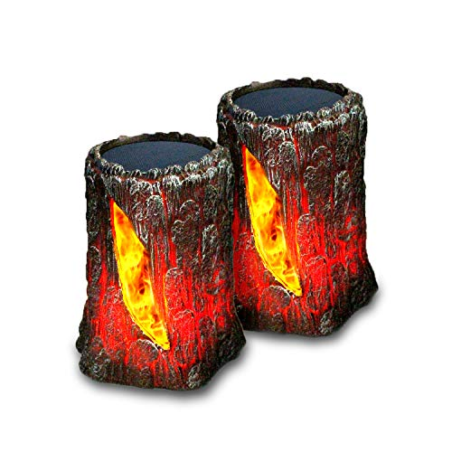 SIMPDIY simulierte Flamme Sonnenlicht Baumstumpf-Modellierung, wasserdicht, lichtempfindliche automatische Ein-/Ausschaltung, Innenparty-Dekolichter, Außenhof-Straßenbeleuchtung-Dekolichter (2 Stück)