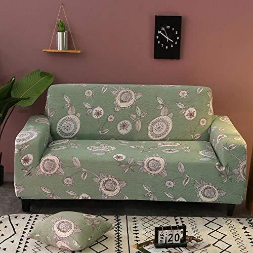 Funda de sofá de 3 Plazas Funda Elástica para Sofá Poliéster Suave Sofá Funda sofá Antideslizante Protector Cubierta de Muebles Elástica Patrón Floral Verde Funda de sofá