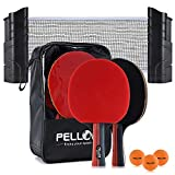 PELLOR Ping Pong Equipment Ping Pong Paddle Set with Net Rack and Portable