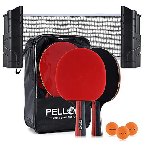 PELLOR Tischtennisschläger, Tischtennis-Set, Ping Pong Set mit Netzgestell und tragbarem Aufbewahrungskoffer,geeignet für Unterhaltungsspiele im Innen- und Außenbereich für Anfänger und Profis