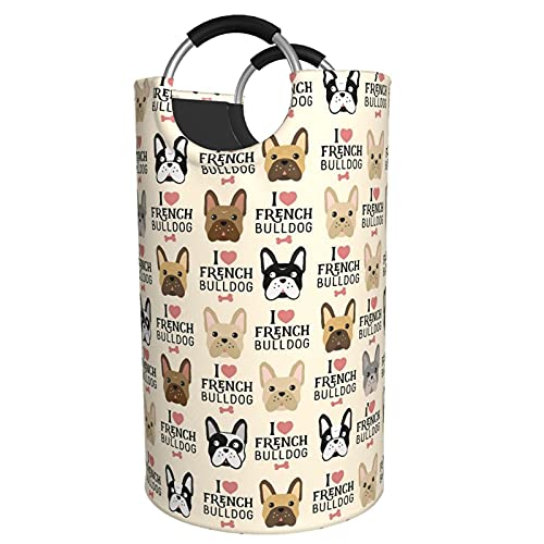 I Love French Bulldog Laundry Basket Large Laundry Hamper Collapsible Clothes Basket Durable Oxford Fabric Portable Folding Washing Bin For Bedroom,Laundry Room,Closet, Bathroom,82l