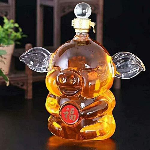 Decantador para Cerdos con Cristales complejos y peculiares en el decantador de Vino Utilizado para Whisky Bourbon-Transparente 2_21x11CM 1000ML Fantastic