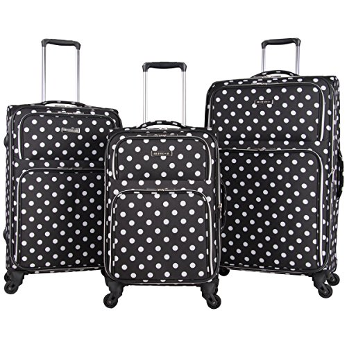 Heritage Travelware Albany Park 600d Polka Dot Polyester 3-Piece Luggage Set; 20' Carry-on, 24', 28', Black