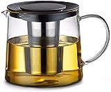 HYY-YY - Set da tè in Vetro con bollitore in Vetro, 1500 ml, Grande capacità in Vetro Trasparente, bollitore, teiera con infusore in Acciaio Inox, Contenitore riscaldato per tè