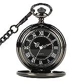 CestMall Negro Reloj de Bolsillo Clásico Mecánico Analógico Cuarzo con 14.5in Collar Colgantepara Regalo de Cumpleaños/El Día de Padre/Navidad