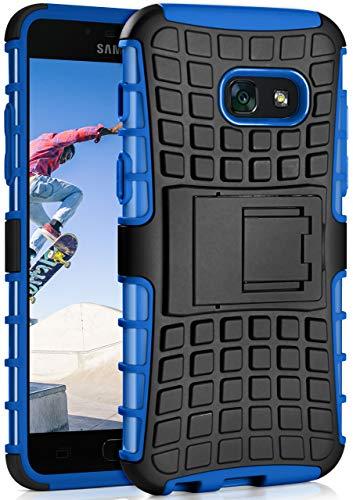 MoEx Samsung Galaxy A5 (2017) Hülle Silikon Hard-Case Blau [OneFlow Outdoor Back-Cover] Extrem Stoßfest Schutzhülle Grip Handyhülle für Samsung Galaxy A5 2017 Case Rückseite Tasche