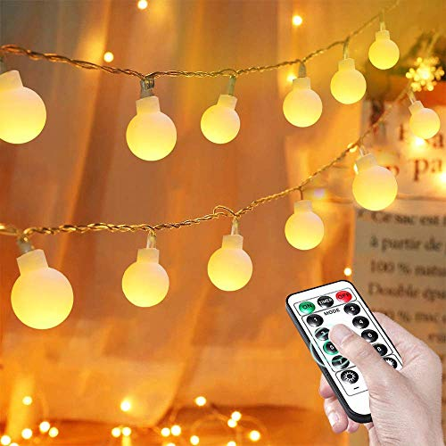 Globe String Lights, Fairy Lights Battery Powered 8M 80 LEDs with Remote, Outdoor Indoor Festoon Lights for Bedroom Outdoor Garden Patio Gazebo and Wedding Decor - Warm White