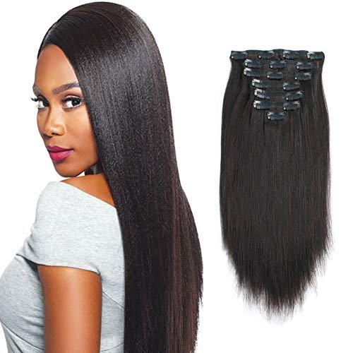 Sassina Brazilian Italian Yaki Straight Clip on Human Hair Extensions Real Remy Hair 8A Grade 14inch Clip in Hair 7 Pieces/Set 120 Grams For African American Black Women