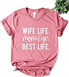 Diliflyer Women's Mom Life Boys Girls Letters T Shirts Graphic Tees (S, B-mom Life)