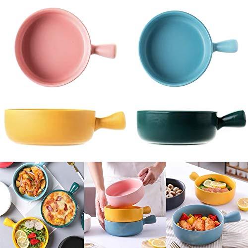 4Pcs/Set Ceramic Matte Glaze Bowl Non-slip Anti-scald Bakeware Oven Safe Bowl Multipurpose Soup Bowl with Handle (onesize, Pink)
