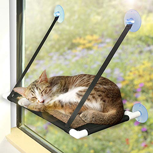 PrimePets Cat Window Perch for Large Cats, 60x31cm Cat hammocks for Indoor Cats, 4 Suction Cups Carry 20 Pound, 360 Degree Sunbathing and Landscape (Cat Window Perch(Coral Fleece Style))
