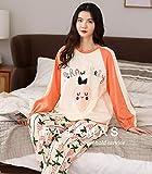 Pijama Mujer PrimaveraPrimavera Otoño Conjunto De Pijama De Algodón Completo para Mujeres Ropa De Dormir De Niñas Lindas Ropa De Dormir De Encaje Casual Ropa Suave Cálida-XXL