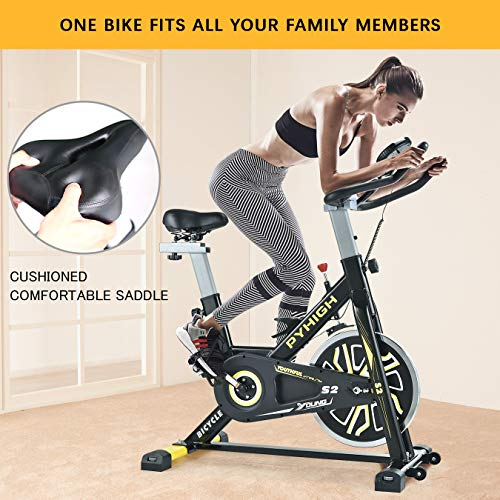 PYHIGH Indoor Cycling Bike Belt Drive Stationary Bicycle Exercise Bikes with LCD Monitor for Home Cardio Workout Bike Training- Black.
