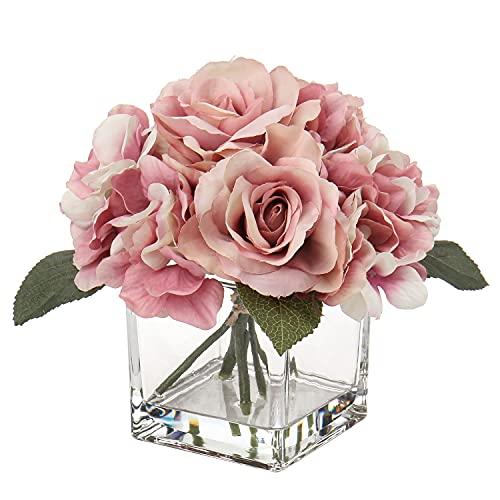 Kunstblume mit Vase Künstliche Rosen Hortensien Kunstrosen Blumengesteck Kunstpflanzen Deko im Glastopf mit Kunstwasser Hochzeitsdeko Fensterbank Tisch Badzimmer Herbst Dekoration