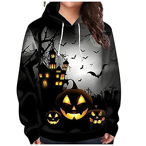 Halloween Kapuzenpullover Damen Bat Hexe...