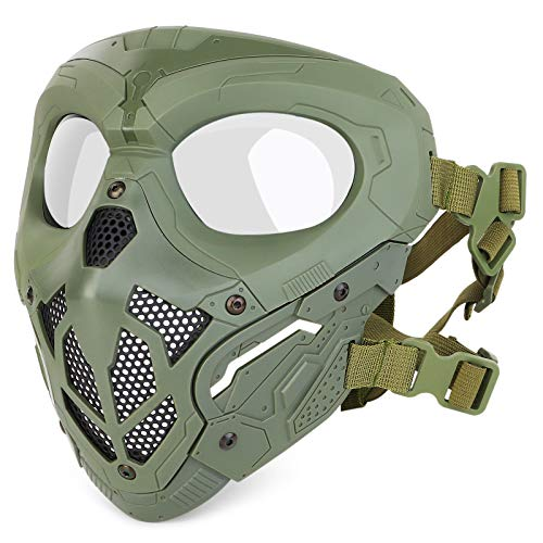 Huntvp Taktische Maske Schädelmaske Militär Schutzmaske Herren Gesichtsmaske Tactical Mask für CS Cosplay Halloween Outdoor, Typ-2 Grün