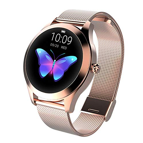 ZYD KW10 Smart Watch BT Fitness Tracker Unterstützung diesem Artikel/Herzfrequenz-Monitor-Sport-Edelstahl-Bluetooth Smartwatch kompatibel IOS/Android Phones,Gold