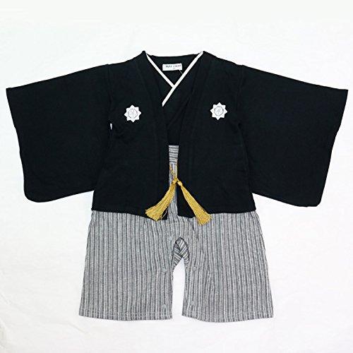 ベビー キッズ 子供服 袴風 カバーオール ロンパース 男の子 黒 80cm 10667506BK80