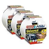 tesa Extra Power Universal - Cinta adhesiva americana reforzada para reparar, fijar, agrupar, reforzar o sellar, paquete de 3, 10 m x 50 mm, color blanco