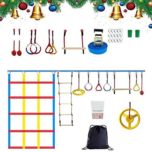 SEAAN- 50ft Slack-Linie Kit Ninja Warrior Hinderniskurs für Kinder, Ninja Ringe/Kletterseil-Leiter & Klettern Cargo Netz,Outdoor Baum hängende Hindernisse Trainingsgerät für Kinder