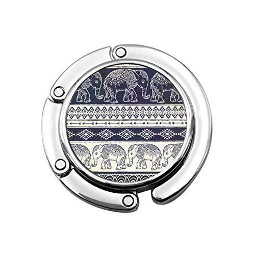 Indische Grafik Tier Elefant Geldbörse Kleiderbügel für Tisch Geldbörse Aufhänger Tischhaken Einzigartige Designs Faltfach Aufbewahrung Geldbörse Aufbewahrung Kleiderbügel
