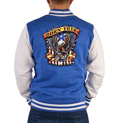 College Jacke für Herren mit USA Rückenaufdruck - Adler und Bike, Born Free - Stars and Stripes auf College Sweater!