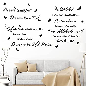 3 Pieces Inspirational Quotes Wall Decals Dream Until Your Dreams Come True Wall Stickers Peel and Stick Motivational Phrases Stickers Living Room Bedroom Home Decorations