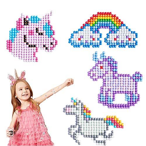 JeVenis 4 piezas de pegatinas de pintura de diamante de unicornio, kit de manualidades para niños y niñas