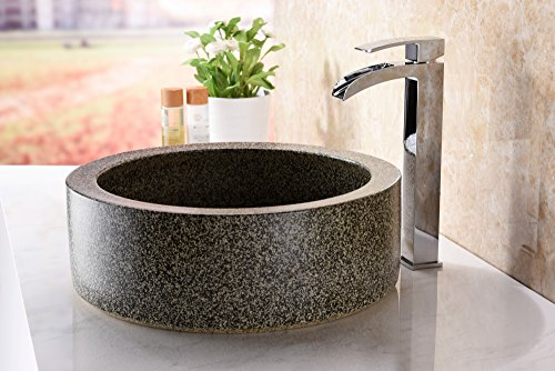 ANZZI Black Desert Crown Modern Tempered Deco Glass Vessel Bowl Sink in Speckled Stone | Top Mount Bathroom Sinks Above Counter | Round Vanity Countertop Sink Bowl with Pop Up Drain | LS-AZ182