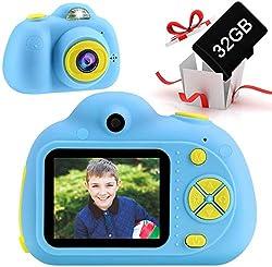 OFUN Macchina Fotografica per Bambini,18 MP Fotocamere digitali per Bambini con 32GB Scheda,Lettore di schede, 2 Pollici LCD, 1080P Videocamera,Regalo di compleanno di Natale per ragazzo
