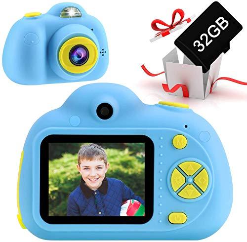 Cámara para Niños con Tarjeta TF 32GB, OFUN Recargable cámara Digital Selfie para Niños de 3 a 8 años, HD 18MP/1080P Doble Objetivo/18MP Video Recorder, cumpleaños Regalo para niños