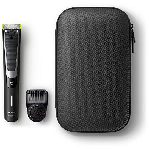 Philips OneBlade Pro QP6510/64 - Pack de Recortador de Barba con Peine de Precisión de 12 Longitudes y Estuche de Viaje, Recorta, Perfila y Afeita, Recargable