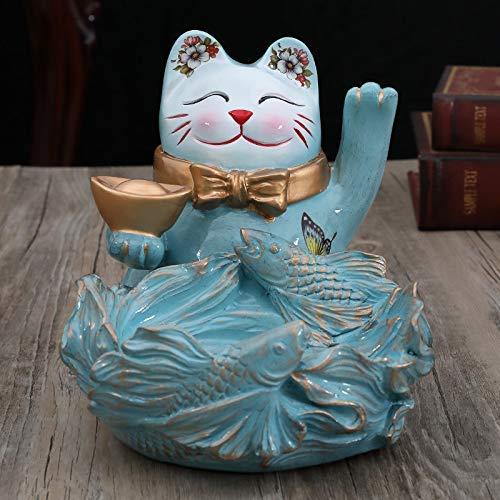 ZJN-JN Estatuas Adornos Creativos Hogar Gato de la Suerte Ornamentos Porche Almacenamiento Llave Caramelo Plato Vino, Decoración Tienda Regalos de Apertura Accesorios Decorativos