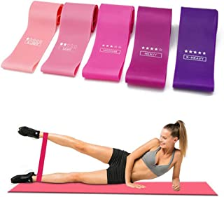 Hooshion 5 Pack Hip Bands Set Resistance Bands for Legs and Butt,Exercise Bands Set Booty Bands Hip Bands Wide Workout Ban...