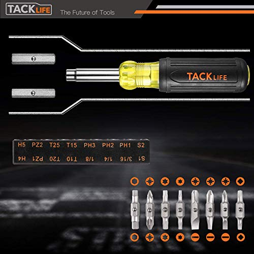 TACKLIFE Screwdriver and Nut Driver,16-in-1 Interchangeable Screwdriver Set, CA+TPR Handle S2 Alloy Steel-HSS3A