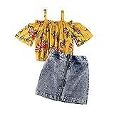 2Pcs Baby Girl Skirt Set Off Shoulder Floral Crop Top Shirts Mini Zipper Denim Skirt Kids Summer Outfit Clothes (Floral Crop top Denim Skirt Outfit, 2-3 Years)