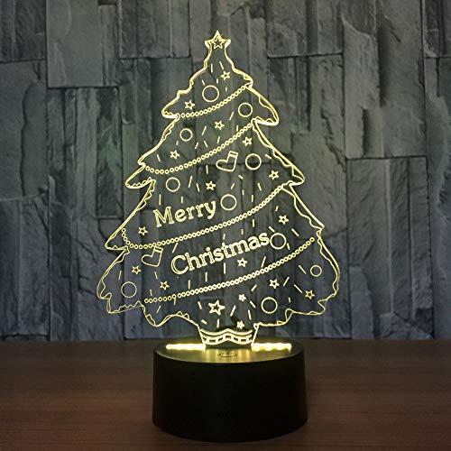 LED 3D Optique Illusion Lampe Touche Tactile USB Alimenté télécommande Lampadaire de Lumière de nuit (Sapin De Noël),Interrupteur Tactile