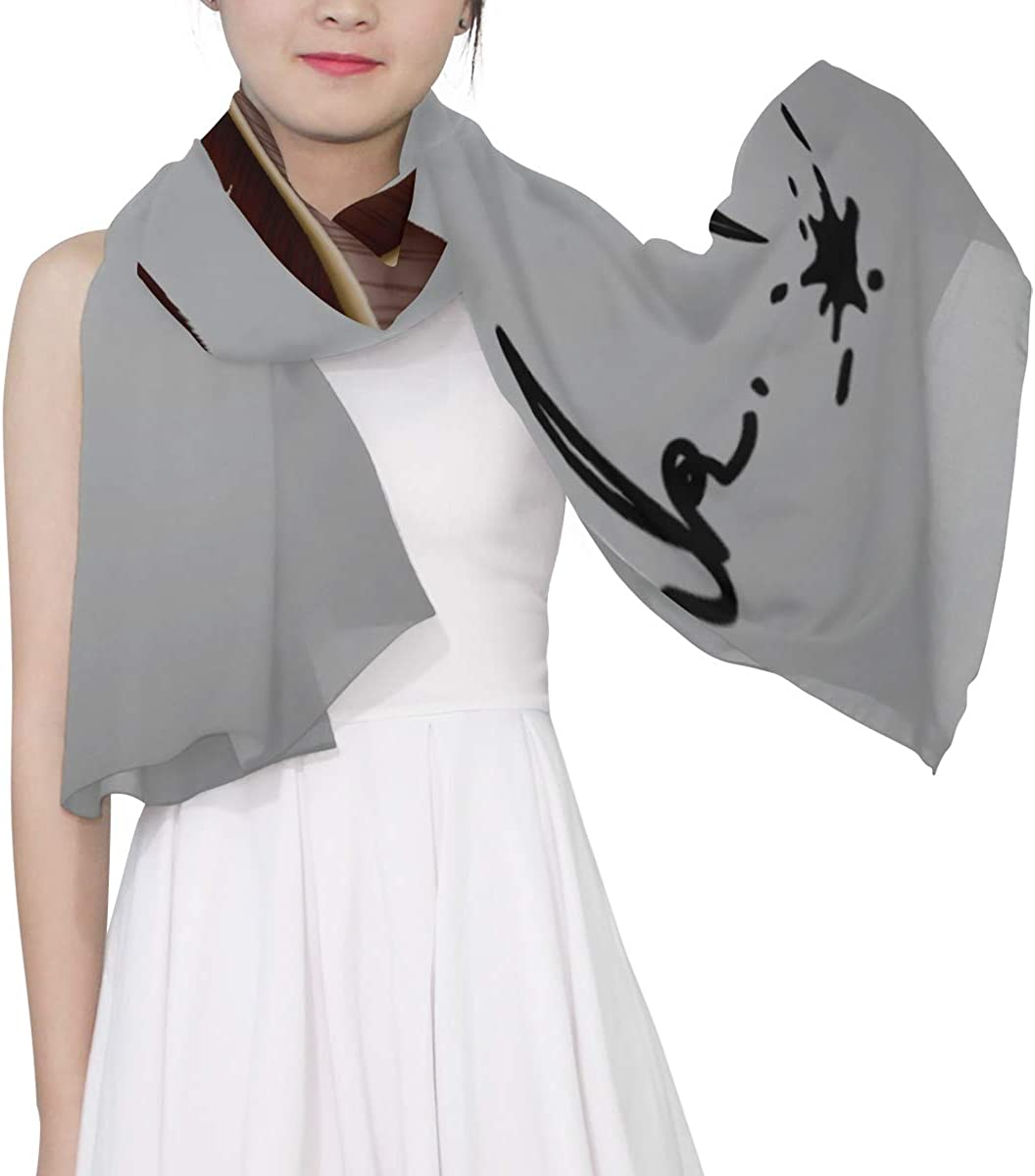 Feather Pen And Ink Unique Fashion Scarf For Women Lightweight Fashion Fall Winter Print Scarves Shawl Wraps Gifts For Early Spring