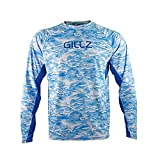 Gillz Men's Tournament Series V2 LS UV Fishing Shirt, High Pressure Blue Water Print, X-Large