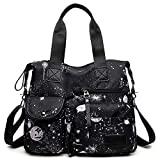 YouNuo Women's Lightweight Floral Top Handle Handbag Multi-pockets Nylon Work Totes Water Resistant Travel Crossbody Shoulder Bag (Floral Black), Medium