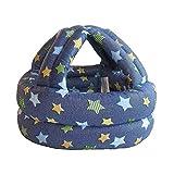 Ogquaton Casco de seguridad para niños pequeños Casquillo ajustable Protección para la cabeza con esponja suave Protector de cabeza para bebés Niños pequeños que caminan azul marino