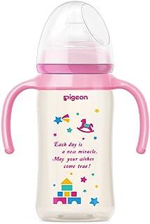 "PIGEON 贝亲 ""自然实感""宽口径PPSU双把手彩绘奶瓶240ml(粉色) 配M奶嘴"