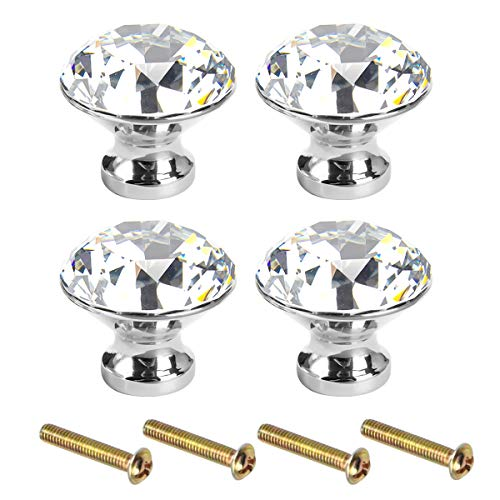 Fodlon Tiradores para Cajones Cristal 4pcs Tiradores de Muebles Modernos Pomos y Tiradores Cocina Tiradores Armarios Infantiles Tirador de Puerta con Forma de Diamante con 4 Tornillos para Baño