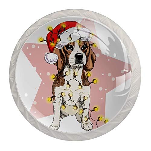4 Pcs Black Kitchen Cabinet Knobs forDresserDrawers with Screws Round Home Decor - Santa hat Lights Garland Dog Snow