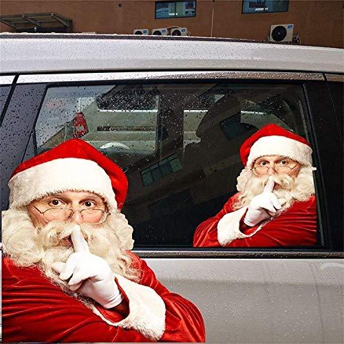 Andyshi 2 PCS 3D Santa Claus Car Rear Window Sticker Car Sticker Window Sticker Funny Car Stickers...