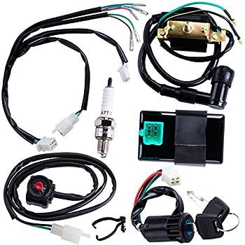CNCMOTOK Wiring Loom Harness Kill Switch Ignition Coil Cdi Box Spark Plug Rebuild Kit for Kick Start Dirt Pit Bike ATV 50CC 70CC 90CC 110CC-160cc Buggy Go Kart Wire Harness
